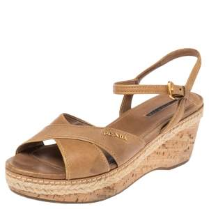 Prada Nude Patent Leather Criss Cross Wedge Sandals Size 38
