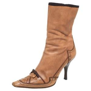 Prada Tan Brogue Leather Square Toe Mid Calf Boot Size 36.5