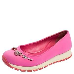 Prada Pink Neoprene Crystal Embellished Slip On Sneakers Size 37