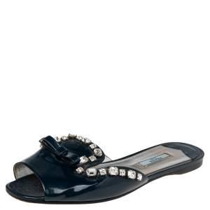Prada Navy Blue Patent Leather Crystal And Bow Embellished Flat Slides Size 39