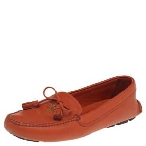 Prada Orange Leather Bow Slip On Loafers Size 35.5