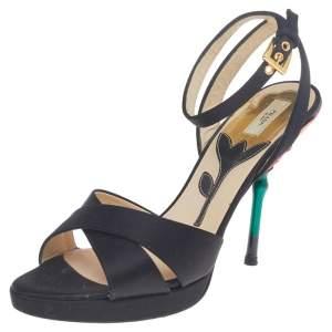 Prada Black Satin Floral Enamel Ankle Strap Sandals Size 37.5