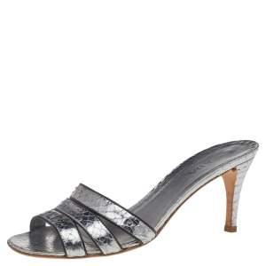 Prada Metallic Silver Snakeskin Embossed Leather Slide Sandals Size 36.5