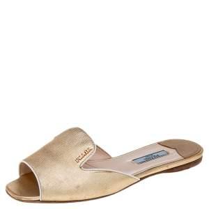 Prada Metallic Gold Saffiano Leather Flat Slides Size 36