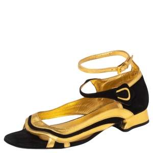 Prada Gold/Black Leather And Suede Ankle Strap Sandals Size 39