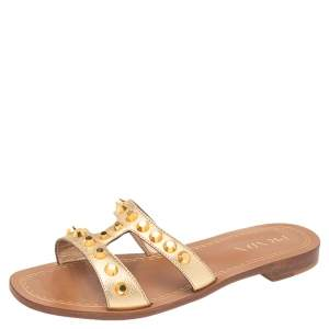 Prada Metallic Gold Leather Studded Flat Slide Size 38.5