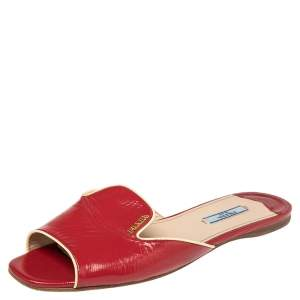 Prada Red Patent Leather Logo Embellished Flat Slides Size 39.5