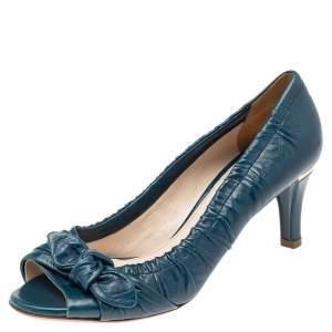 حذاء كعب عالي برادا جلد أزرق مخضر مقدمة مفتوحة بفيونكة مقاس 38