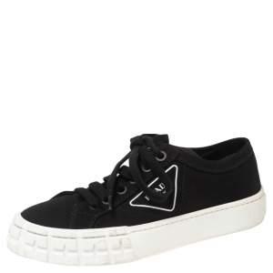 حذاء رياضي برادا غبرديني قماش أسود عنق منخفض مقاس 38