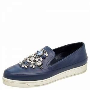 حذاء رياضي برادا سليب أون جلد مزخرف أزرق مقاس 38.5