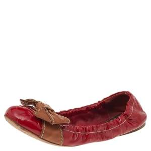 Prada Red/Brown Patent Leather Bow Scrunch Ballet Flats Size 38