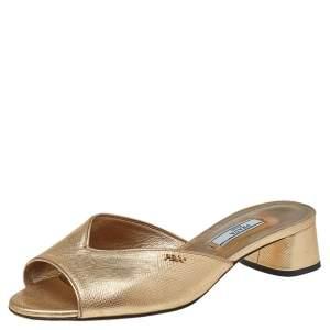 Prada Gold Saffiano Leather Silde Sandals Size 37.5