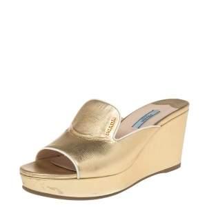 Prada Metallic Gold Saffiano Leather Wedge Platform Slide Sandals Size 38.5
