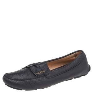 Prada Black Leather Slip On Loafers Size 37.5