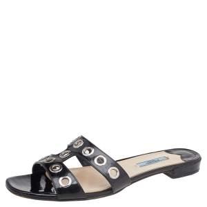 Prada Black Patent Leather Eyelet Detail Flat Slides Size 39.5
