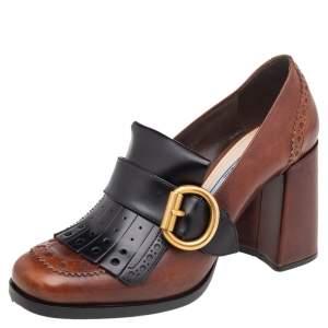 Prada Brown/Black Brogue Leather Fringe Block Heel Loafer Pumps Size 37.5