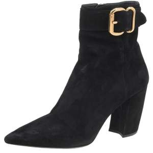 Prada Black Suede Buckle Detail Ankle Boots Size 37.5