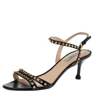 Prada Black Leather Stud Embellishment Ankle Strap Sandals Size 40