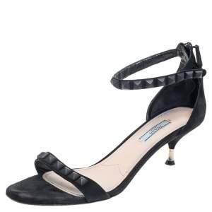 Prada Black Suede Stud Embellished Ankle Strap Sandals Size 40