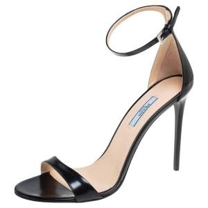 Prada Black Leather Ankle Strap Sandals Size 40