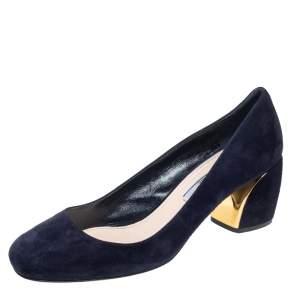 Prada Navy Blue Suede Block Heel Pumps Size 38