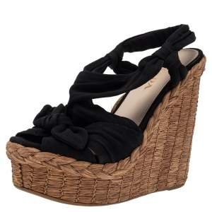 Prada Black Fabric Wedge Platform Espadrille Sandals Size 36
