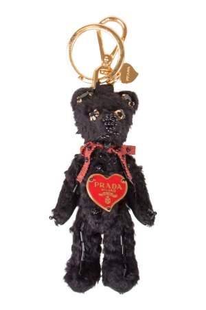 Prada Black Teddy Bear Embellished Gold Tone Bag Charm / Key Ring