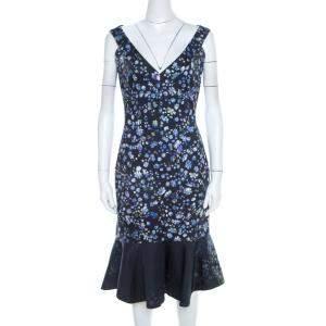 Preen by Thornton Bregazzi Blue Flower Print Cotton Morgan Flounce Dress S