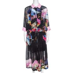 Preen by Thornton Bregazzi Multicolor Floral Print Sheer Georgette Shirt Dress M