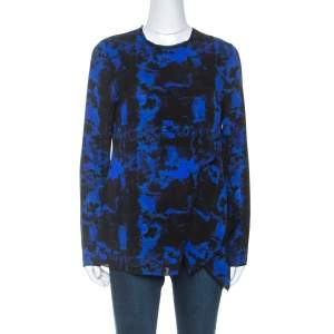 Proenza Schouler Indigo Graffiti Print Silk Layered Top S