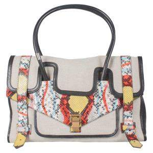 Proenza Schouler Multicolor Canvas/Leather and Python Embossed Leather Medium PS1 Keepall Bag