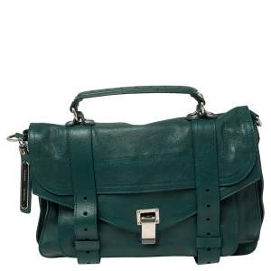 Proenza Schouler Green Leather Medium PS1 Top Handle Bag