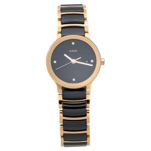 Rado Black Ceramic Gold PVD Coated Stainless Steel Diamond Centrix R30555712 Women's Wristwatch 28 mm