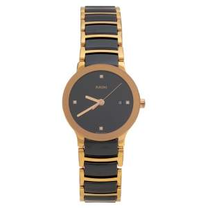 Rado Black HIgh-Tech Ceramic Gold PVD Stainless Steel Centrix Diamonds R30930712 Women's Wristwatch 28 mm