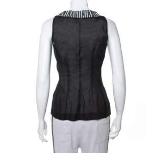 Louis Vuitton Black Polka Dot Printed Silk & Cotton Contrast Neck Detail Sleeveless Top XS