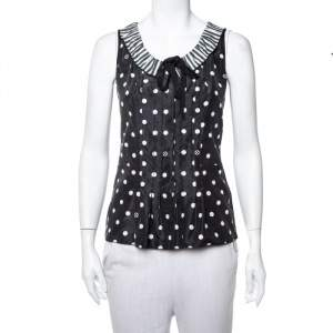 Louis Vuitton Black Polka Dot Printed Silk & Cotton Contrast Neck Detail Sleeveless Top XS