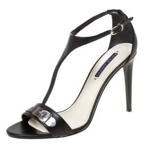 Ralph Lauren Black Leather Silver Clasp T Strap Sandals Size 41