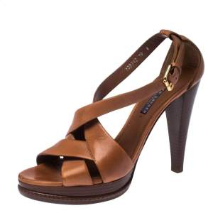 Ralph Lauren Collection Brown Leather Strappy Platform Sandals Size 40