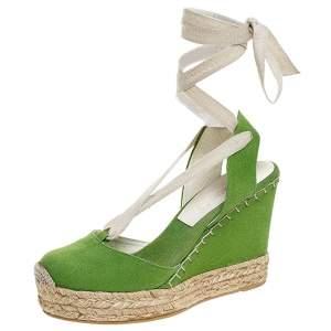 Ralph Lauren Collection Green Canvas Wedge Platform Ankle Wrap Sandals Size 39.5