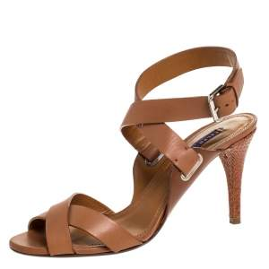 Ralph Lauren Collection Brown Leather Strappy Platform Sandals Size 40.5