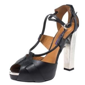Ralph Lauren Collection Black Leather Platform Ankle Strap Sandals Size 38.5