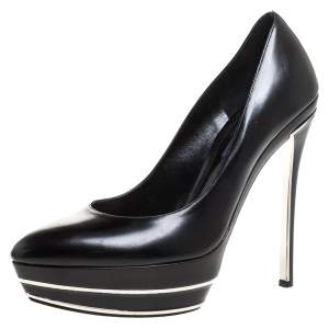 Ralph Lauren Black Leather Platform Pumps Size 39.5