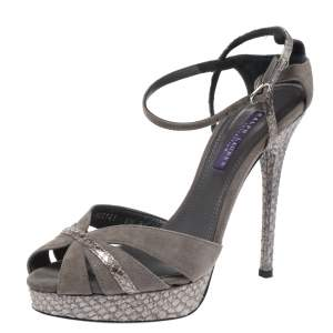 Ralph Lauren Collection Grey Suede And Python Jerala Ankle Strap Platform Sandals Size 38.5