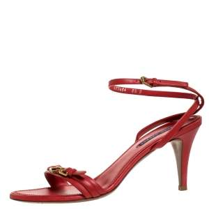 Ralph Lauren Collection Red Leather Horsebit And Buckle Detail Ankle Strap Sandals Size 39