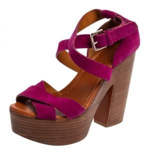 Ralph Lauren Collection Pink Suede Alannah Sandals Size 38