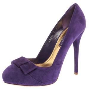 Ralph Lauren Collection Purple Suede Bow Detail Platform Pumps Size 38