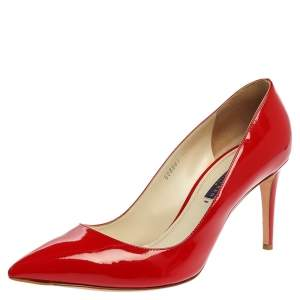 Ralph Lauren Collection Red Patent Leather Armissa Pointed Toe Pumps  Size 40