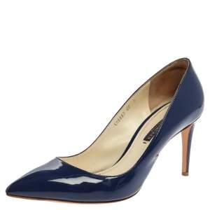 Ralph Lauren Collection Blue Patent Leather Armissa Pointed Toe Pumps Size 40