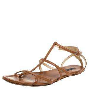 Ralph Lauren Brown Leather Caged Flat Sandals Size 40