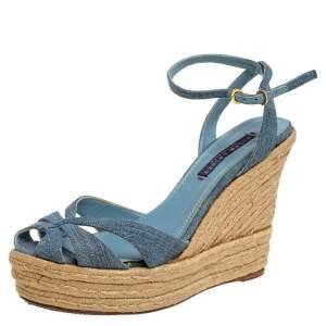 Ralph Lauren Blue Denim Platform Ankle Strap Espadrille Wedge Sandals Size 37.5